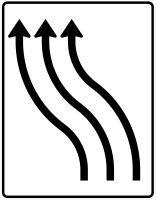 VZ 511-12 Verschwenkungstafel ohne Gegenverkehr 3-streifig nach links