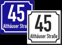 Hausnummernschild mit Straßennamen Klassischer Rahmen
