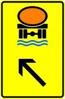VZ 422-15 Wegweiser für Fahrzeuge mit wassergefährdender Ladung, links einordnen
