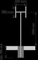 Gabelpfosten zur Anbringung von 2 Richtungstafeln