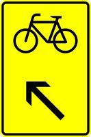 VZ 422-17 Wegweiser für Radverkehr, links einordnen