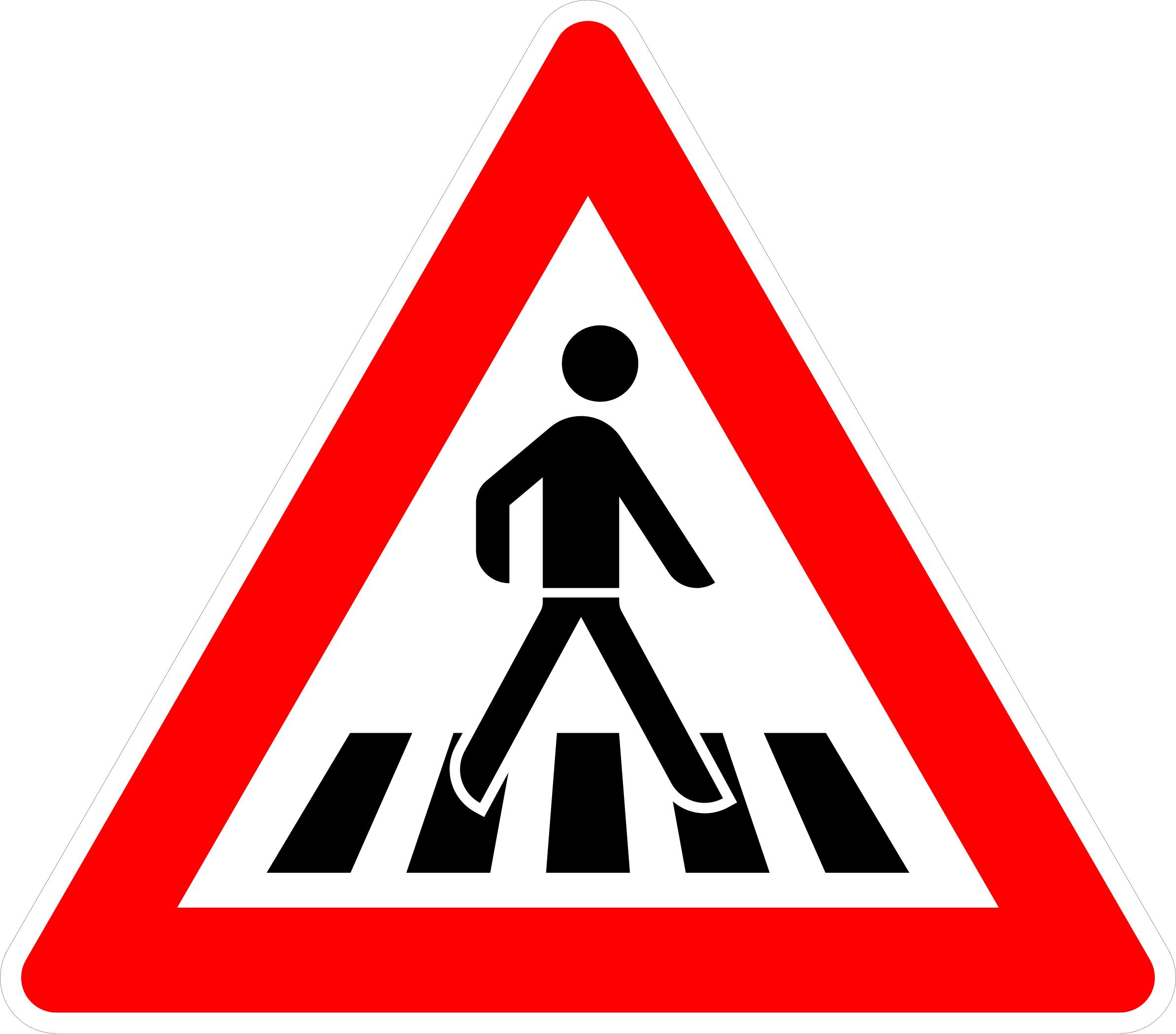 VZ 101-21 Fußgängerüberweg, Aufstellung links