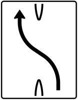 VZ 501-10 Überleitungstafel ohne Gegenverkehr 1-streifig nach links