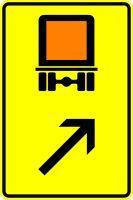 VZ 422-23 Wegweiser für kennzeichnungspflichtige Fahrzeuge mit gefährlichen Gütern, rechts einordnen