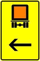VZ 422-12 Wegweiser für kennzeichnungspflichtige Fahrzeuge mit gefährlichen Gütern, hier links