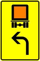 VZ 442-11 Vorwegweiser für kennzeichnungspflichtige Fahrzeuge mit gefährlichen Gütern, linksweisend