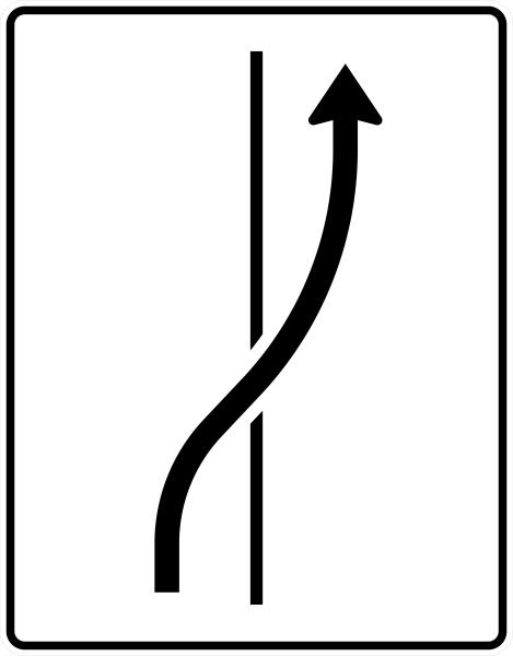 VZ 511-25 Verschwenkungstafel, Verschwenkung auf den Seitenstreifen