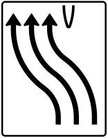 VZ 501-12 Überleitungstafel ohne Gegenverkehr 3-streifig nach links