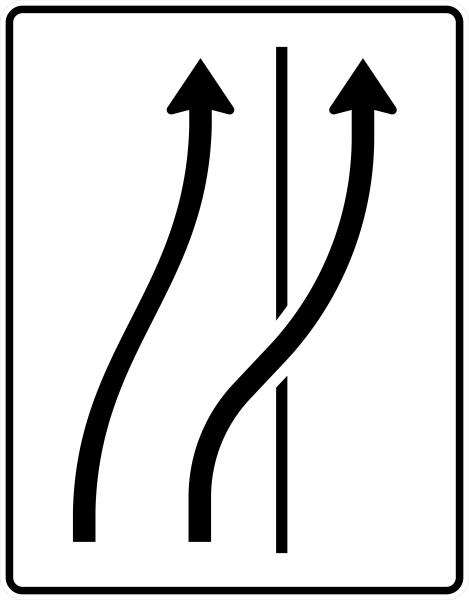 VZ 511-26 Verschwenkungstafel, Verschwenkung auf den Seitenstreifen
