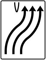 VZ 501-22 Überleitungstafel ohne Gegenverkehr 3-streifig nach rechts