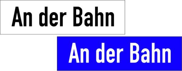 Straßennamenschilder 150x2mm flach bis 10 Zeichen