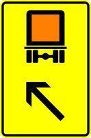 VZ 422-13 Wegweiser für kennzeichnungspflichtige Fahrzeuge mit gefährlichen Gütern, links einordnen