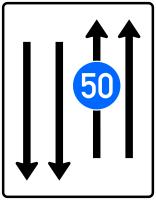 VZ 526-33 Fahrstreifentafel mit 1 integr. Z. 275