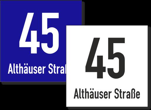 Hausnummernschild mit Straßennamen