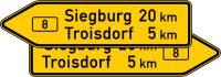 VZ 415-40 Pfeilwegweiser auf Bundesstraßen, doppelseitig