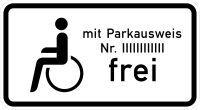 VZ 1020-11 Schwerbehinderte mit Parkausweis Nr. ... Frei