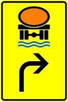VZ 442-22 Vorwegweiser für Fahrzeuge mit wassergefährdender Ladung, rechtsweisend