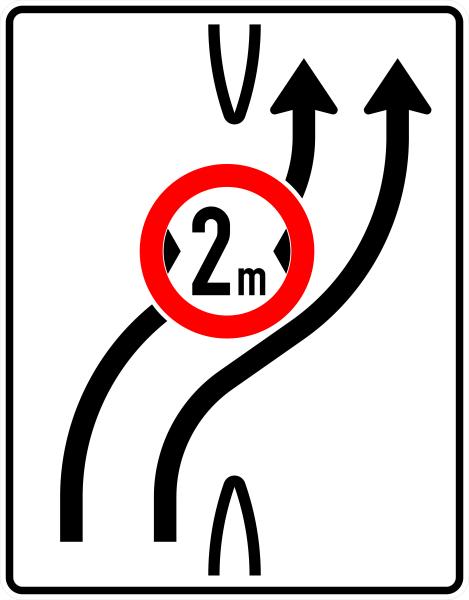 VZ 505-21 Überleitungstafel mit Zeichen 264