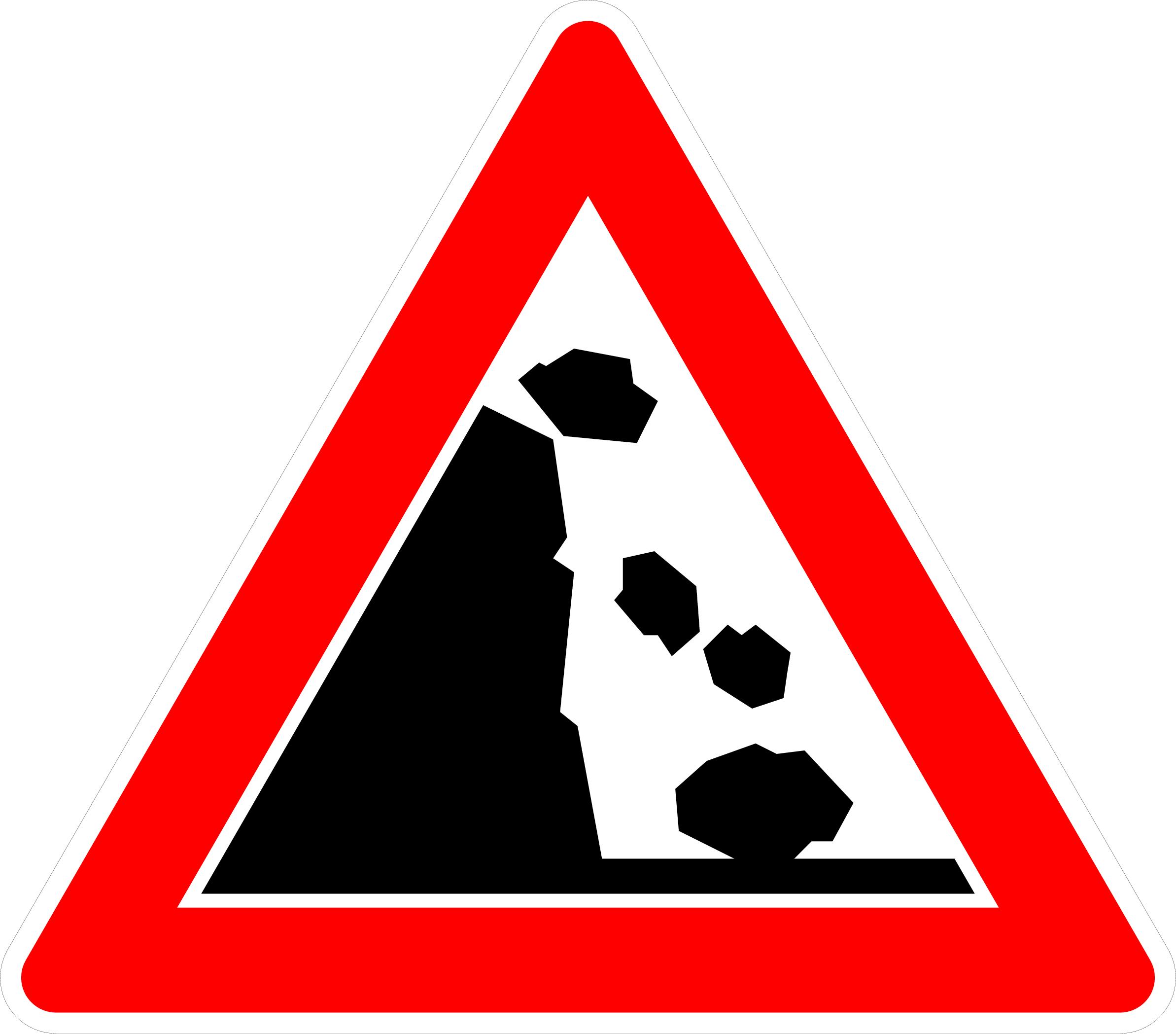 VZ 101-25 Steinschlag, Aufstellung links
