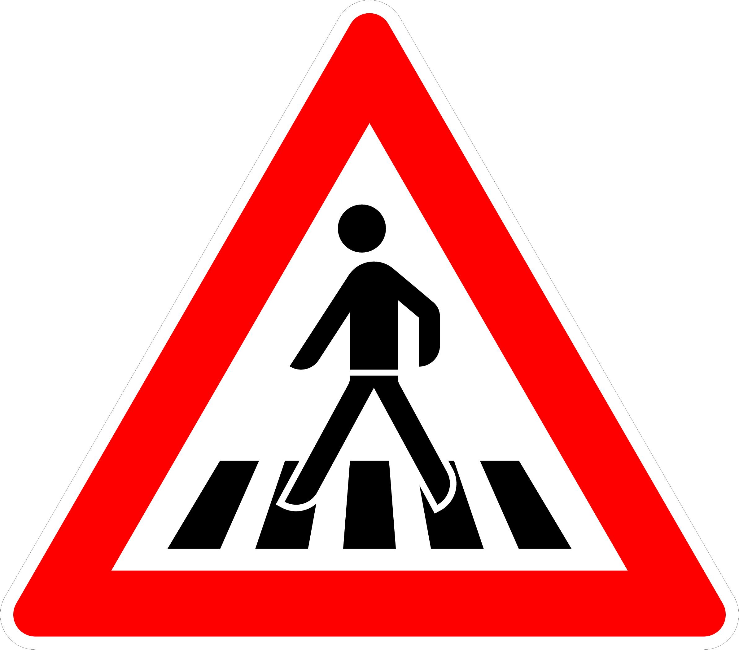 VZ 101-11 Fußgängerüberweg, Aufstellung rechts