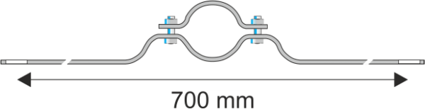 Rohrschelle Steglänge 700 mm