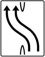 VZ 501-11 Überleitungstafel ohne Gegenverkehr 2-streifig nach links