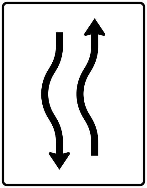 VZ 514-10 Verschwenkungstafel, kurze Verschwenkung mit Gegenverkehr