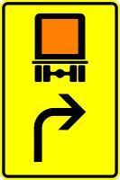 VZ 442-21 Vorwegweiser für kennzeichnungspflichtige Fahrzeuge mit gefährlichen Gütern, rechtsweisend