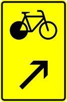 VZ 422-27 Wegweiser für Radverkehr, rechts einordnen